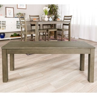 """Offex 48"""" Homestead Simple Classic Traditional Solid Wood Dining Bench - Aged Grey"""