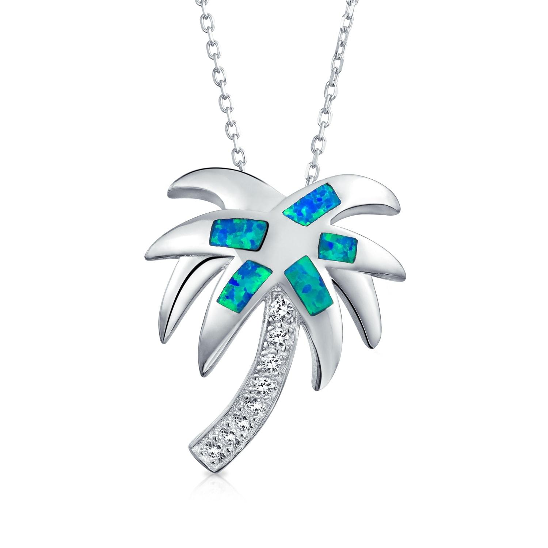 Blue Opal Peace Sign Heart .925 Sterling Silver Pendant