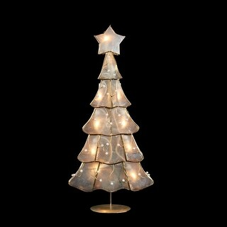 "15.5"" Lighted Capiz Shell Christmas Tree Decorative Holiday Table Top Decoration"