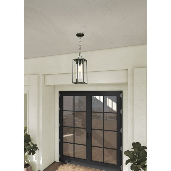 Eglo Walker Hill Outdoor Pendant with Oil Rubbed Bronze Finish and Clear Glass. Opens flyout.