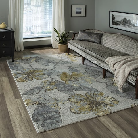 Momeni Luxe Polyester Blend Floral Area Rug