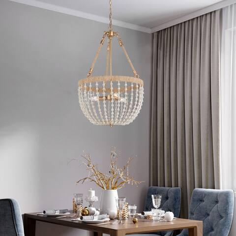 """Mid-century Modern Boho 3-light Chandelier Jute Rope Beads Ceiling Lights - D17"""" x H28.5"""""""