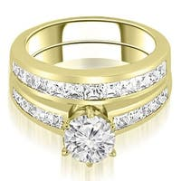 2.05 cttw. 14K Yellow Gold Channel Set Princess Cut Diamond Bridal Set