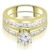 2.30 cttw. 14K Yellow Gold Channel Set Princess Cut Diamond Bridal Set