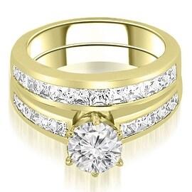 2.55 cttw. 14K Yellow Gold Channel Set Princess Cut Diamond Bridal Set