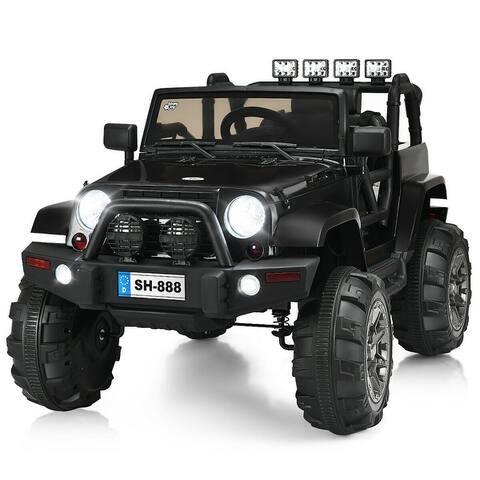 12V Kids Ride On Truck Car w/Bluetooth Remote Control MP3 Music LED Lights BlackPinkWhite