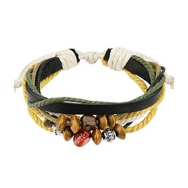 Black Leather with White Straps Two Tone Braided Bracelet with Mixture of Beads (10 mm) - 7.5 in