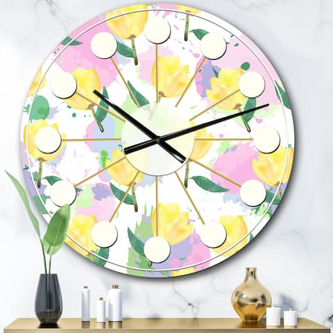 Designart 'Floral pattern with flowers' Mid-Century wall clock