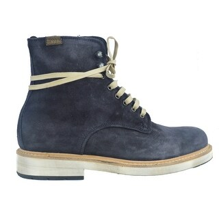 Lo. White Mens Navy Blue Distressed Suede High Top Lace Boots