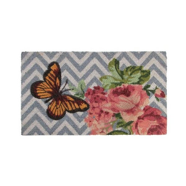 "Decorative Multi-Color Rose and Butterfly Spring Coir Outdoor Rectangular Door Mat 29.5"" x 17.75"""