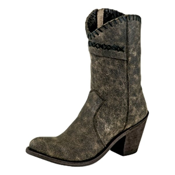 Old West Fashion Boots Womens High Narrow Round Vintage Charcoal