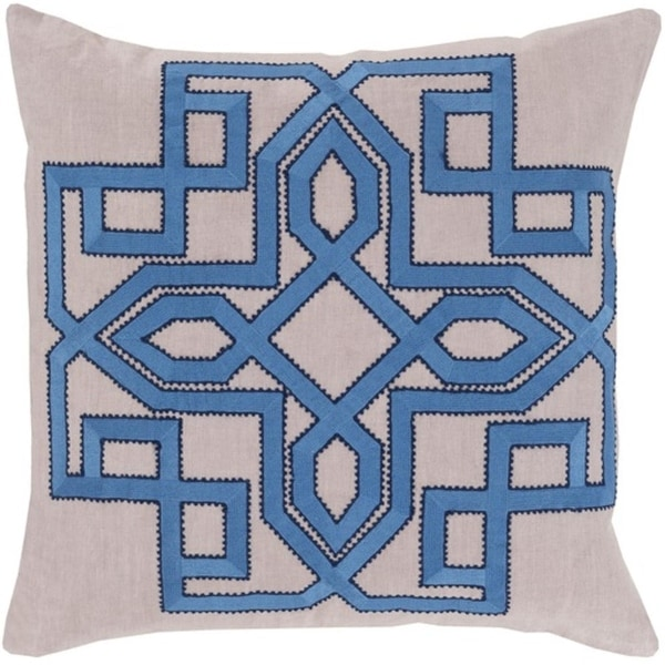 "20"" Lavish Labyrinth Aero Blue and Cream Decorative Square Throw Pillow - Down Filler"