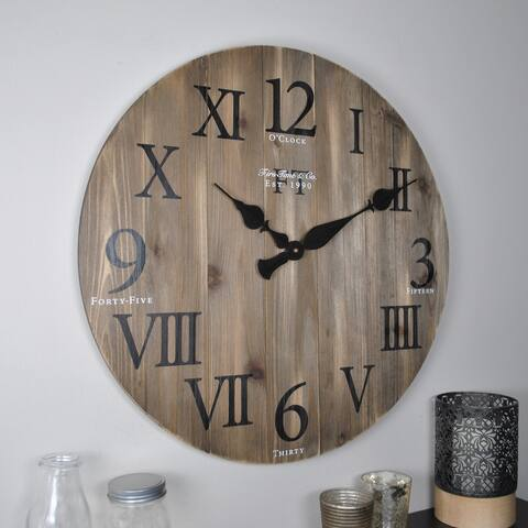 FirsTime & Co.® Rustic Farmhouse Barn Wood Wall Clock, Solid Wood, 24 x 2 x 24 in, American Designed - 24 x 2 x 24 in