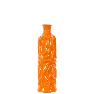 Cylindrical Shape Ceramic Vase With Wrinkled Sides, Medium, Orange