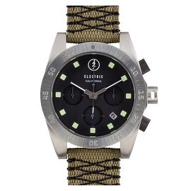 Electric DW01 Mens Chronograph Sports Watch Black Dial Olive Nylon Woven Strap