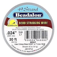Beadalon Wire Standard Bright 49 Strand .024 Inch / 30 Feet