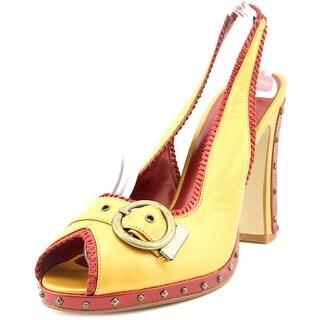 Chinese Laundry Falcon Women Peep-Toe Leather Yellow Slingback Heel