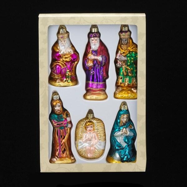 "Set of 6 Noble Gems Glass The Holy Family Nativity Christmas Ornament 4.75"" - multi"