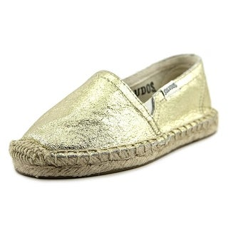 Soludos Original Espadrille Youth Round Toe Leather Gold Espadrille