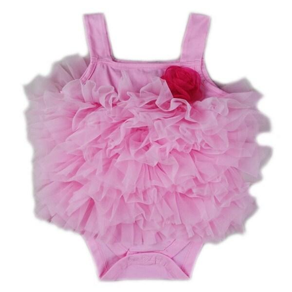 Wenchoice Baby Girls Pink Chiffon Ruffle Flower Strap Bodysuit