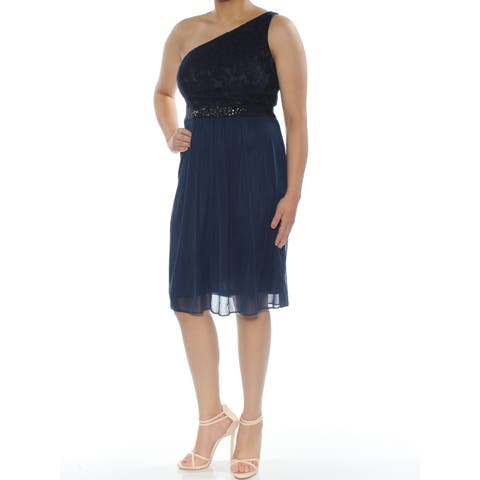 ADRIANNA PAPELL Womens Navy Embellished Sleeveless Asymmetrical Neckline Knee Length Fit + Flare Evening Dress Size: 6