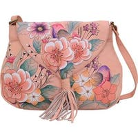 ANNA by Anuschka Women's Hand Painted Flap Hobo 8286 Vintage Garden - us women's one size (size none)