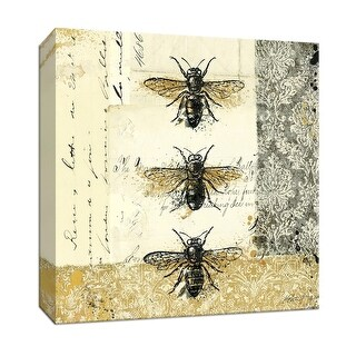 "PTM Images 9-152923  PTM Canvas Collection 12"" x 12"" - ""Golden Bees n Butterflies No 1"" Giclee Bees Art Print on Canvas"