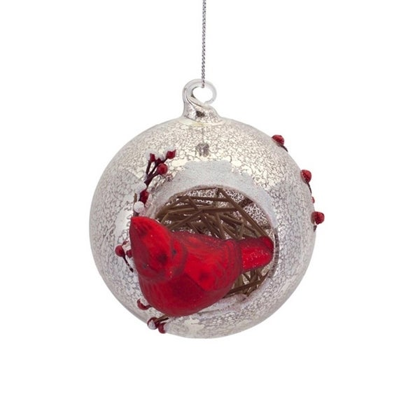 """4.5"""" Country Cabin Woodland Inspired Red Cardinal Mercury Glass Ball Christmas Ornament - silver"""