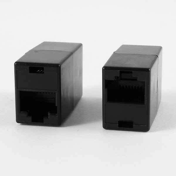 Unique Bargains Black RJ45 Female Socket Modular Lan Ethernet Straight Coupler Connector 2 Pcs
