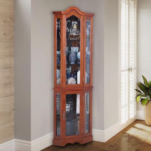 PHI VILLA Lighted Corner Curio Display Cabinet