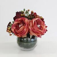 G Home Collection Luxury Red Hydrangea and Rose Flower Arrangement - Orange