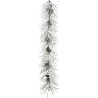6' Flocked Long Needle Pine & Pine Cone Artificial Christmas Garland - Unlit