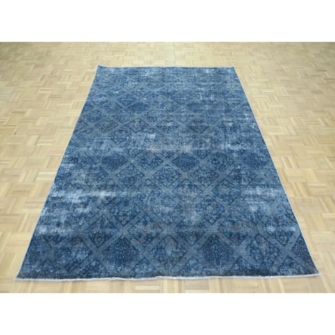 """Hand Knotted Blue Overdyed with 100% Wool Oriental Rug (6'3"""" x 9'4"""") - 6'3"""" x 9'4"""""""