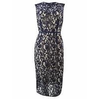 Vince Camuto Women's Illusion Lace Sheath Dress - Navy - 6