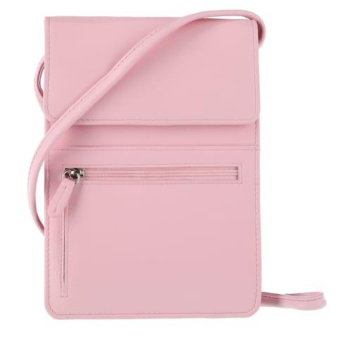ILI Women's Basic Leather Crossbody Bag with Front Pocket - one size