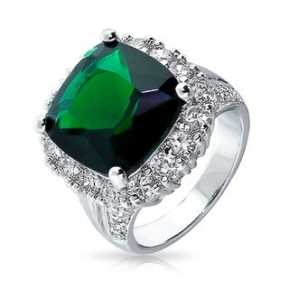 Bling Jewelry Green CZ Cocktail Ring Rhodium Plated