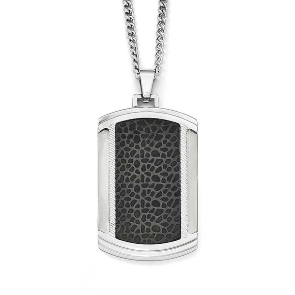 Chisel Stainless Steel Brushed and Polished Black IP-Plated Dogtag Necklace - 24 in