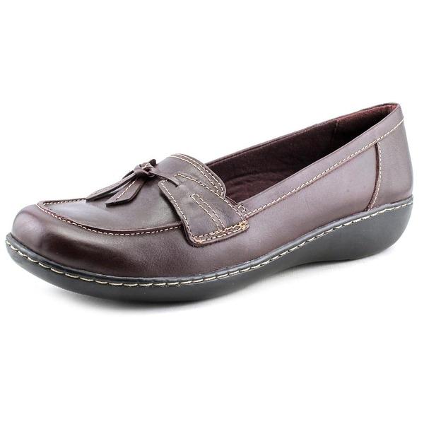 43193d3bad4 Clarks Narrative Ashland Bubble Women WW Moc Toe Leather Burgundy Loafer