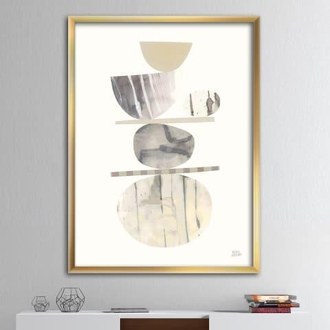 Designart 'Geometric Balance Neutral II' Shabby Chic Premium Framed Art Print
