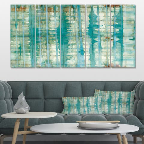 Designart 'Turquoise Watercolor geometrical VIII' Modern & Transitional Canvas Artwork Print