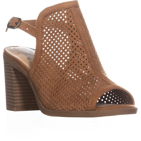 AR35 Despina Perforated Block Heel Sandals, Cognac