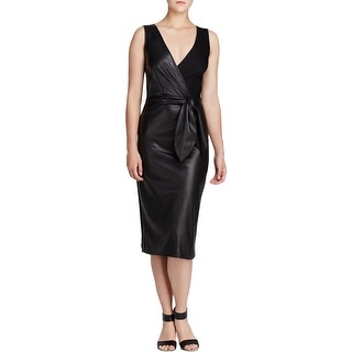 Diane Von Furstenberg Womens Bella Cocktail Dress Lamb Leather Tie at Waist
