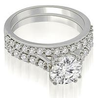 1.05 cttw. 14K White Gold Cathedral Round Cut Diamond Bridal Set