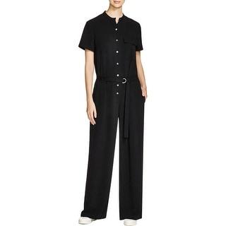 DKNY Womens Jumpsuit Short Sleeves Mandarin Collar