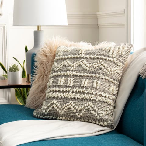The Curated Nomad Taber Hygge Wool 18-inch Throw Pillow Cover