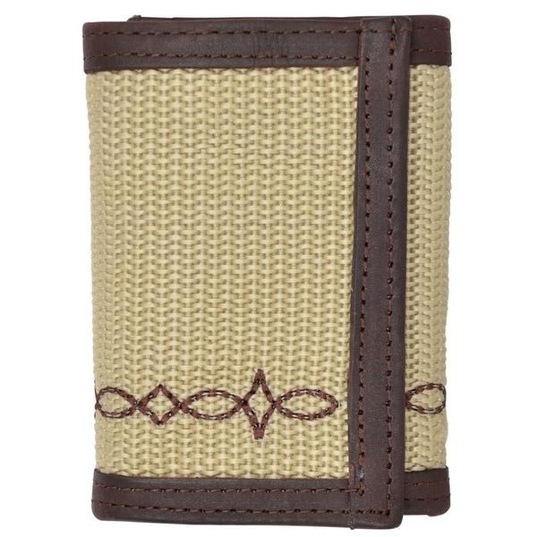 """Georgia Wallet Mens Trifold Work Canvas Woven Pocket Khaki - 4 1/4"""" x 3 1/4"""""""