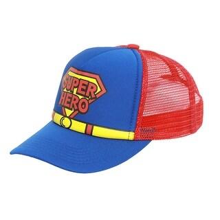 Kids Toddler Super Hero Mesh Trucker Hat - Red w/ Blue - Red/blue