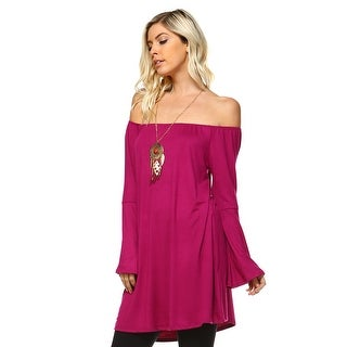 Isaac Liev Bell Sleeve Off The Shoulder Flowy Loose Fit Peasant Top Blouse
