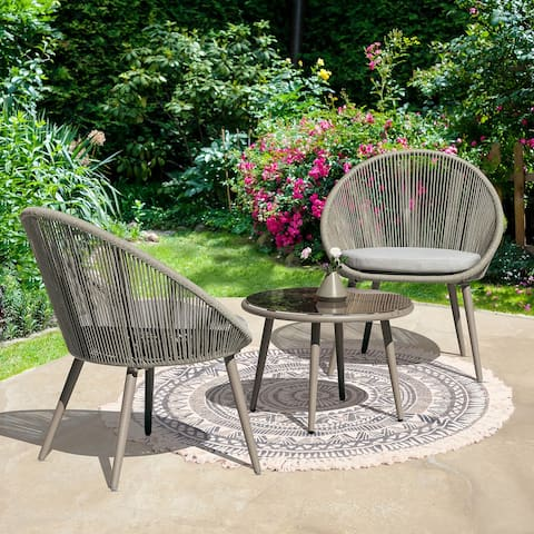 NUU GARDEN Patio Rope 3-piece Bistro Set with Cushions