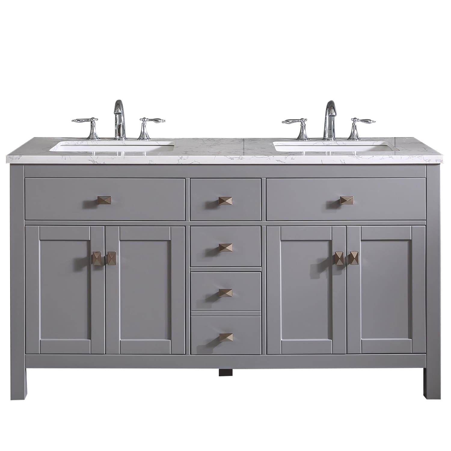 Totti Memphis 60 Gray Transitional Double Sink Bathroom Vanity W White Carrara Style Man Made Stone Top Overstock 32352438